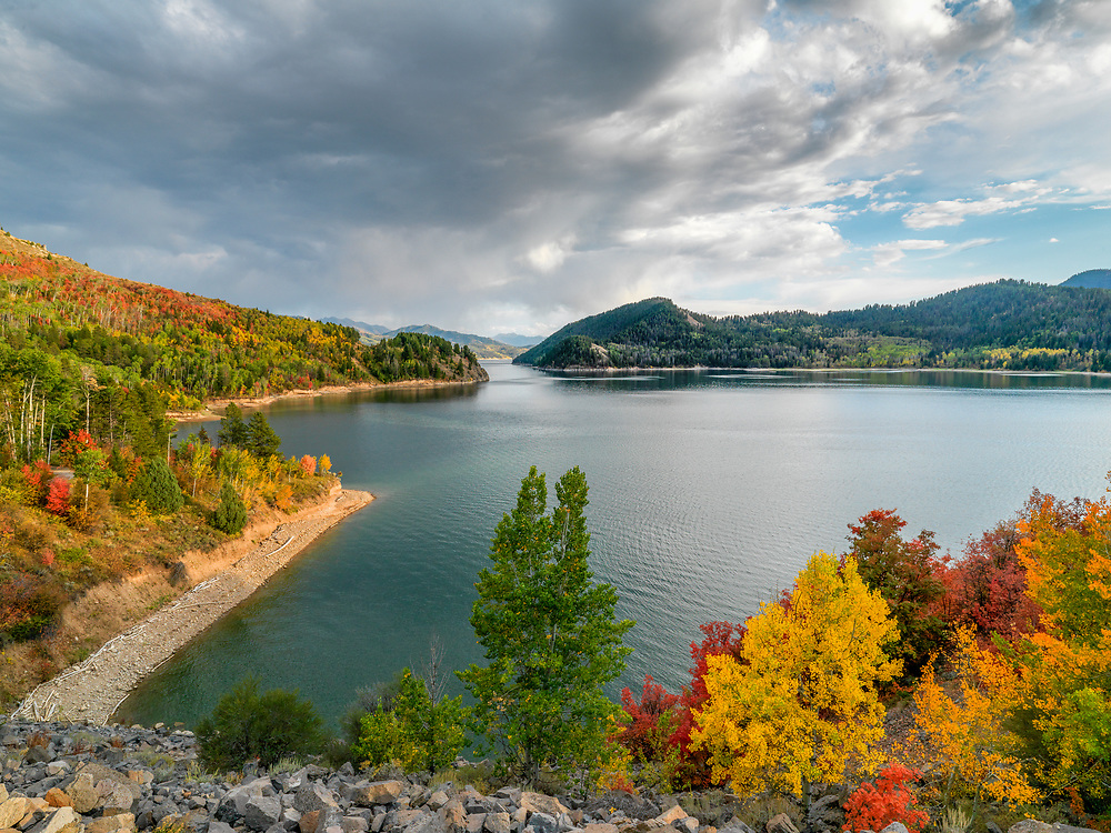 Autumn Colors abound around Palisades Lake on the South Fork of the Snake River in Eastern Idaho. Licensing and Open Edition Prints