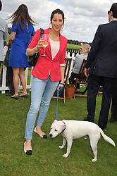 PRINCESS TAMARA CZARTORYSKI-BOURBON and her dog Mr Boon at the Cartier Queen's Cup Polo Final, Guards Polo Club, Windsor Great Park, Berkshire, on 17th June 2012.