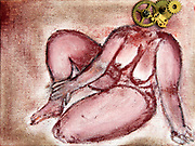 Nude woman sitting, as seen from the front. Cog wheels are used to emphasize though. Photograph of the artwork by Vladi Alon. Property release available