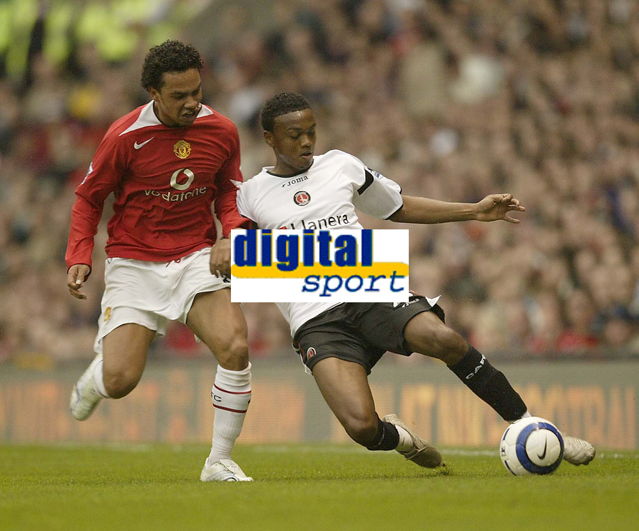 Photo: Aidan Ellis.<br /> Manchester United v Charlton Athletic. The Barclays Premiership. 07/05/2006.<br /> United's Keiran Richardson and Charlton's Osei Sankofa