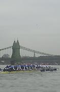 148th Boat Race Trail Eight's.Oxford University Boat Club (OUBC).Putney to Mortlake- The Championship Course.Both crews approach Hammersmith Bridge (W^) with Twisted Trailing..Twisted, Bow Christopher Reeve (GBR), 2 Justin Hutchinson (USA), 3 Nicholas O?Grady (GBR), 4 Angus Warner (GBR), 5 Lucas McGee (USA), 6 Basil Dixon (GBR), 7 Andrew Dunn (GBR), Stroke Benjamin Burch (GBR) 2002 President, cox: Peter Hackworth (GBR)...Bitter  -  Blue Tee Shirts.Bow john Adams (GBR), 2 Nicholas Tuppen (GBR), 3 Henry Morris (GBR), 4Danial Perkins (USA), 5 Gerritjan Eggenkamp (NED), 6 David Livingston (GBR), 7  Robin Bourne-Taylor (GBR),  Stroke Matthew Smith (GBR), cox: Acer Nethercott (GBR) . Varsity Boat Race [Mandatory Credit  Peter Spurrier; Intersport Images] 20011213 Oxford University Boat Club,  Trial Eights, Putney to Mortlake, London, UK