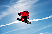 A snowboarder practices before the 2020 X Games at Buttermilk in Aspen, Colorado.