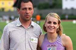 Coach Robert Rudelic and Sabina Veit at Athletic National Championship of Slovenia, on July 20, 2008, in Stadium Poljane, Maribor, Slovenia. (Photo by Vid Ponikvar / Sportal Images).
