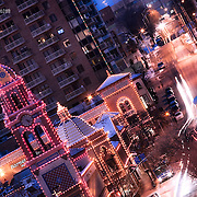 Zoomed in photo of Kansas City's Country Club Plaza Lights