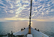 Bow of Fishing Boat at dawn, Long Island Sound, New York, North Fork, Connecticut, Miss Nancy