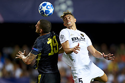 September 19, 2018 - Valencia, Spain - Leonardo Bonucci, Gabriel (R) competes for the ball during the Group H match of the UEFA Champions League between Valencia CF and Juventus at Mestalla Stadium on September 19, 2018 in Valencia, Spain. (Credit Image: © Jose Breton/NurPhoto/ZUMA Press)