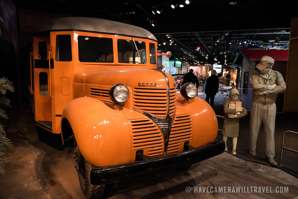 A vintage American school bus on display at the Smithsonian National Museum of American History in Washington DC.