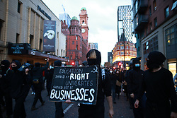 © Licensed to London News Pictures. 10/05/2021. Manchester, UK. Students at the University of Manchester protest over their living and learning conditions , and march through Manchester City Centre . The occupation of the University's Samuel Alexander building by students continues , as they say they have been let down over fees and rental charges under Coronavirus , the actions of police and private security on campus and the University's responses to students' concerns , over the last twelve months . Photo credit: Joel Goodman/LNP