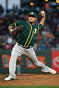 Oakland Athletics starting pitcher Sean Manaea (55) pitches against the San Francisco Giants at AT&T Park in San Francisco, California, on March 30, 2017. (Stan Olszewski/Special to S.F. Examiner)