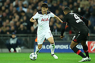 Son Heung-Min of Tottenham Hotspur in action. UEFA Champions league match, group E, Tottenham Hotspur v Bayer Leverkusen at Wembley Stadium in London on Wednesday 2nd November 2016.<br /> pic by John Patrick Fletcher, Andrew Orchard sports photography.