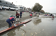 """Putney. London. GREAT BRITAIN; Crews boating at Putney Hard. <br /> <br /> 1995 Thames World Sculling Championships, Putney to Mortlake. Championship Course, River Thames.<br /> <br /> [Mandatory Credit; """"Photo, Peter Spurrier/Intersport-images]"""
