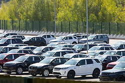 © Licensed to London News Pictures. 22/04/2020. Near Coventry, North Warwickshire, UK. JLR Stocks. Vehicles at the Jaguar Landrover distribution site in North Warwickshire. Photo credit: Dave Warren / LNP