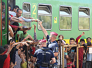 Police hand out provisions to migrants at Bicske train station in Hungary as a tense stand-off between police and migrants  continues into a second day. On Thursday, police let the migrants board the train in Budapest but then tried to force them off at a refugee camp to the west of the capital.  Picture by Paul Hackett