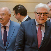 Janos Martonyi (L) foreign minister of Hungary and Frank-Walter Steinmeier (2nd R) foreign minister of Germany arrive to a press conference after the meeting of the foreign ministers of the V4 group (Czech Republic, Hungary, Poland and Slovakia) in Budapest, Hungary on March 13, 2014. ATTILA VOLGYI