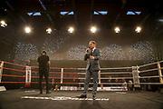 BOXEN: EC Boxing, Hamburg, 06.07.2019<br /> Weltergewicht IBO-Weltmeisterschaft: Sebastian Formella (GER) - Tulani Mbenge (RSA): Moderator Ingo Rohrbach<br /> © Torsten Helmke
