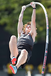 August 12, 2018 - Toronto, ON, U.S. - TORONTO, ON - AUGUST 12: Shawnacy Barber (Canada), silver in pole vault at the 2018 North America, Central America, and Caribbean Athletics Association (NACAC) Track and Field Championships on August 12, 2018 held at Varsity Stadium, Toronto, Canada. (Photo by Sean Burges / Icon Sportswire) (Credit Image: © Sean Burges/Icon SMI via ZUMA Press)