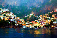 """Evening Rain Over Positano - Painting by Dino Carbetta""…<br />
