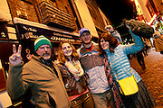 31/12/14 Kevin Meredith, Glenn and Leslie Dinga, South Carolina, enjoying New Years Eve celebrations in Temple Bar, Dublin. Picture:Arthur Carron