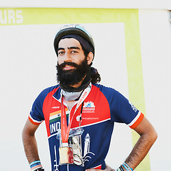 Rider Siddharth Bachloo, after finishing the PARIS-BREST-PARIS Randonneur race. Rambouillet, France. August 22, 2019.