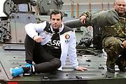 Feyenoord-selectie  krijgt maandag in Amersfoort een militaire training. Op uitnodiging van de Koninklijke Landmacht is de A-selectie een dag te gast op de Bernhardkazerne.<br /> <br /> Op de foto:  Kostas Lamprou