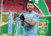Football - 2018 Carabao (EFL/League) Cup Final - Manchester City vs. Arsenal<br /> <br /> Sergio Aguero (Manchester City) with the League Cup trophy at Wembley.<br /> <br /> COLORSPORT/DANIEL BEARHAM