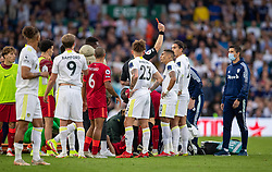 LEEDS, ENGLAND - Sunday, September 12, 2021: Leeds United's Pascal Struijk (R) is shown a red card and sent off during the FA Premier League match between Leeds United FC and Liverpool FC at Elland Road. Liverpool won 3-0. (Pic by David Rawcliffe/Propaganda)