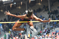 April 28, 2018 - Philadelphia, Pennsylvania, U.S - LISSA LABICHE (4) of the University of South Carolina clears the bar as she wins the CW high jump championship at the 124th running of the Penn Relays in Philadelphia Pennsylvania (Credit Image: © Ricky Fitchett via ZUMA Wire)
