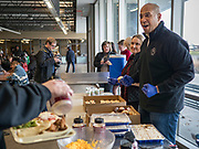 27 NOVEMBER 2019 - DES MOINES, IOWA: at Central Iowa Shelter and Services in Des Moines. Sen Booker helped plate up and serve lunch at the shelter. The shelter has about 180 beds and is full almost every night. In January and February, more than 250 people per night come to the shelter, which sets out overflow bedding. Senator Booker is running to be the Democratic nominee for the US Presidency in 2020. Iowa hosts the first selection event of the presidential election season. The Iowa caucuses are February 3, 2020.                       PHOTO BY JACK KURTZ