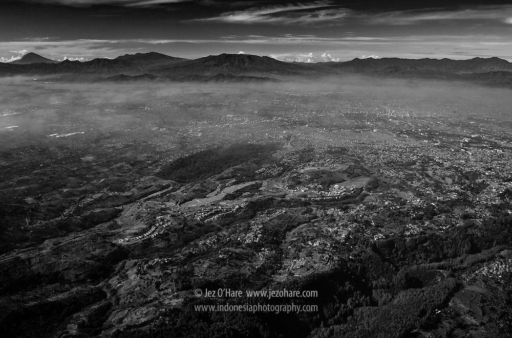Bandung city seen from above Hutan Taman Juanda, Dago, West Java, Indonesia.