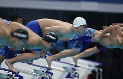 JAKARTA, Aug. 19, 2018  Li Zhuhao (C) of China competes during Men's 200m Butterfly Final in the 18th Asian Games in Jakarta, Indonesia, Aug. 19, 2018. Li won the bronze medal. (Credit Image: © Fei Maohua/Xinhua via ZUMA Wire)