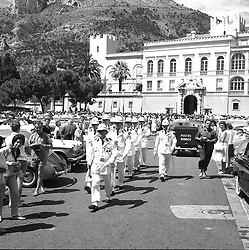 Changing of the guard outside the Prince's Palace, Monte Carlo, Monaco in February 1960.