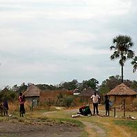 Africa, Botswana, Okavango Delta. Village in the Okavango Delta.