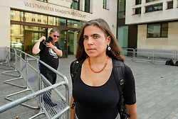© London News Pictures. 14/09/2016. London, UK. SAMA BAKA leaves Westminster Magistrates Court in London where she was one of nine Black Lives Matter campaigners who pleaded guilty to charges relating to a protest at London City Airport on September 6, in which the protest group locked themselves together on the airport's runway.  Photo credit: Ben Cawthra/LNP