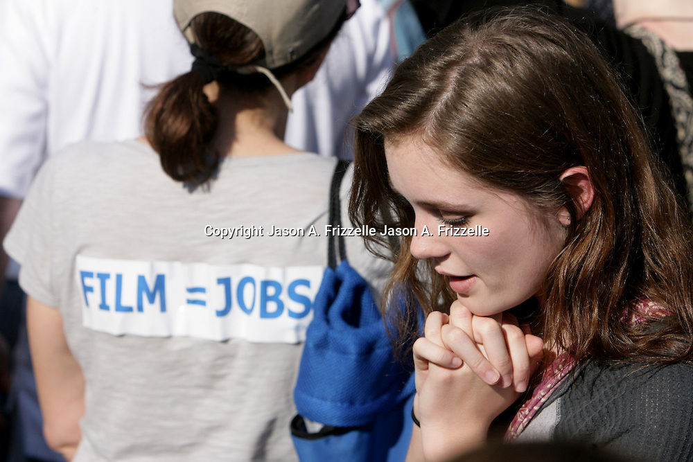 """Grace Victoria Cox from TV's """"Under the Dome"""" is pictured during a pro film incentives rally Sunday May 4, 2014 in Wilmington, N.C. (Jason A. Frizzelle)"""