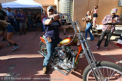 Juan Prieto was the winner of the Ironhead Sportster chopper built by JP Rodman for the Run to Raton. Raton, NM. USA. Saturday July 21, 2018. Photography ©2018 Michael Lichter.