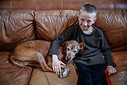 SHOT 12/27/15 3:06:56 PM - Gavin O'Connell,7, of Albuquerque, N.M. sits with Tanner, an 11 year-old Vizsla, in his home in Albuquerque, N.M. (Photo by Marc Piscotty / © 2015)