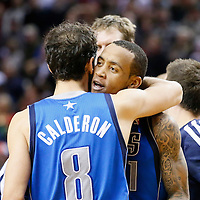 07 December 2013: Dallas Mavericks shooting guard Monta Ellis (11) celebrates his game winning shot at the buzzer with 1.9 second remaining with his teammates during the Dallas Mavericks 108-106 victory over the Portland Trail Blazers at the Moda Center, Portland, Oregon, USA.