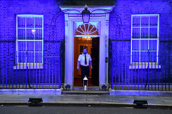 © Licensed to London News Pictures. 04/07/2020. London, UK. Downing St is lit blue to honour and mark the 72nd birthday of the National Health Service. Photo credit: Ray Tang/LNP