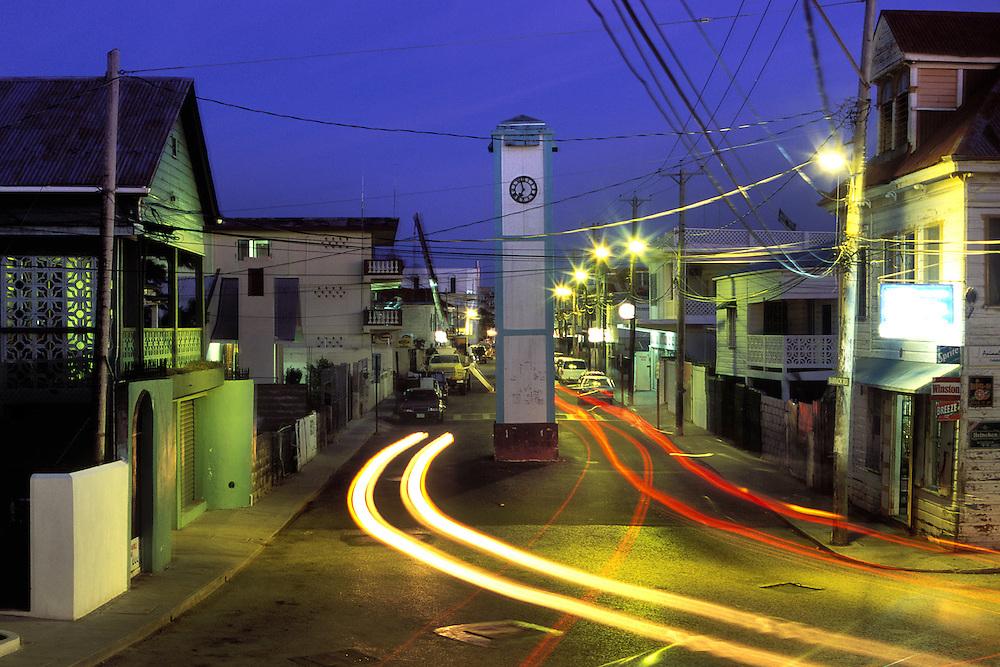 BELIZE / Belize City / Night view of Clock Tower Street...© JOAN COSTA