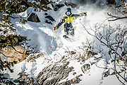 """SHOT 1/26/16 11:19:54 AM - Benjamin Michaels of Park City, Utah picks a line through a rocky descent at Solitude Mountain Resort. Solitude is a ski resort located in the Big Cottonwood Canyon of the Wasatch Mountains, thirty miles southeast of Salt Lake City, Utah. With 66 trails, 1,200 acres (4.9 km2) and 2,047 feet (624 m) vertical, Solitude is one of the smaller ski resorts near Salt Lake City. It is a family-oriented mountain, with a wider range of beginner and intermediate slopes than other nearby ski resorts; 70% of its slopes are graded """"beginner"""" or """"intermediate,"""" the highest such ratio in the Salt Lake City area. Solitude was one of the first major US resorts to adopt an RFID lift ticket system, allowing lift lines to move more efficiently. (Photo by Marc Piscotty / © 2016)"""