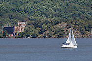 New Windsor, New York - The sailboat Forwever Young heads south on the Hudson River as seen from Plum Point on July 31, 2015.