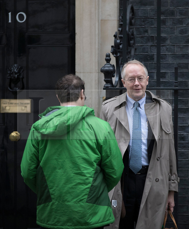 © Licensed to London News Pictures. 31/01/2017. London, UK. Myron Ebell (R), US President Trump's environment advisor, talks to an aide as he leaves number 10 Downing Street after meeting with government officials.  Photo credit: Peter Macdiarmid/LNP