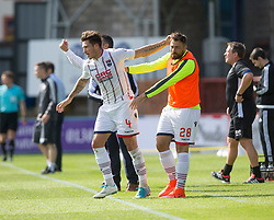 Ross County's Christopher Routis (4) cele scoring their second goal with Ross County's Kenny van der Weg. Dundee 1 v 2 Ross County, Scottish Premiership game played 5/8/2017 at Dundee's home ground Dens Park.