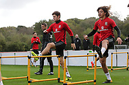 Ben Davies of Wales (l) and  Ethan Ampadu of Wales ® during the Wales football team training at the Vale Resort, Hensol , South Wales on Monday 2nd October 2017, the team are preparing for their FIFA World Cup qualifier away to Georgia this week. pic by Andrew Orchard, Andrew Orchard sports photography