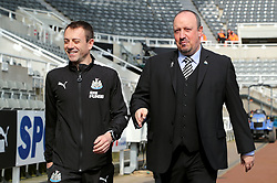 Newcastle United manager Rafael Benitez (right) and assistant manager Francisco 'Paco' de Miguel Moreno arriving at the ground