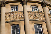 Detail carvings Roman figures Guildhall, Bath, England