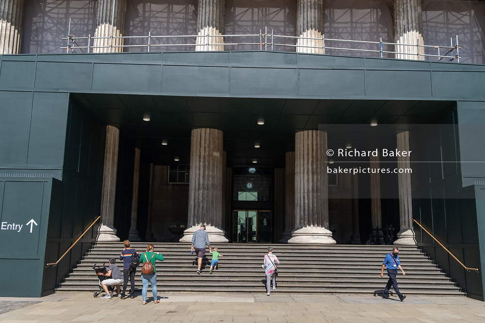 Re-opened after months of closure during the Coronavirus pandemic, some of the first visitors who have pre-booked free tickets, may once again enjoy the historical artifacts at the British Museum, on 2nd September 2020, in London, England.