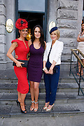 Runner up in the Hotel Meyrick Best Dressed lady Competition Eva Morrissey, Castletroy, Co. Limerick Model and Judge Andrea Roche and Winner Orla Sheridan from Foxford Co. Mayo at Hotel Meyrick in Eyre Sq. Galway during Galway's Race week . Photo:Andrew Downes