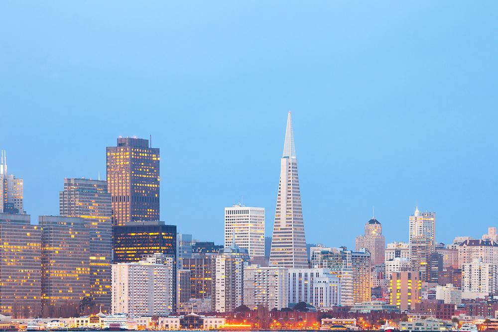 City skyline at dawn of San Francisco, California, United States