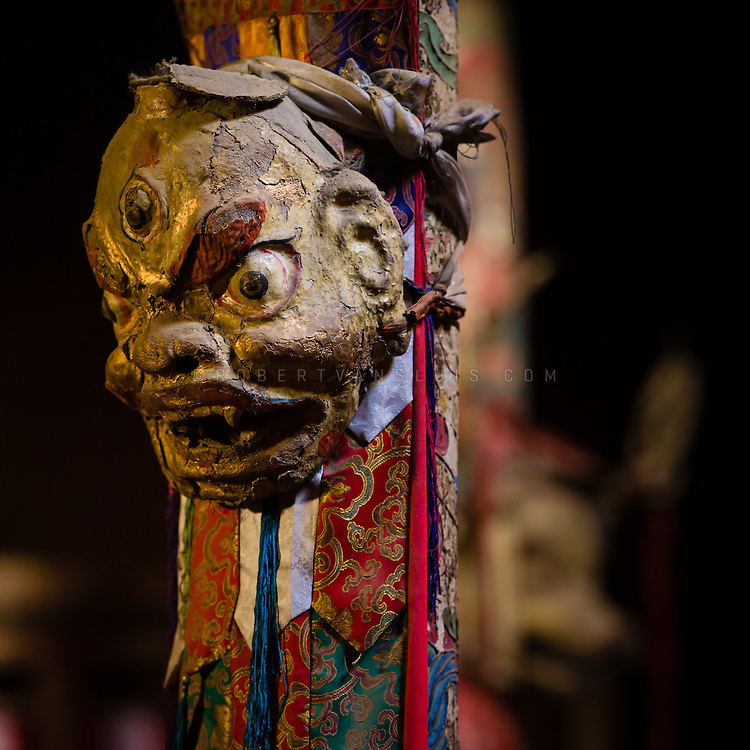 Buddhist ritual mask in Leh Palace, Leh, Ladakh, India